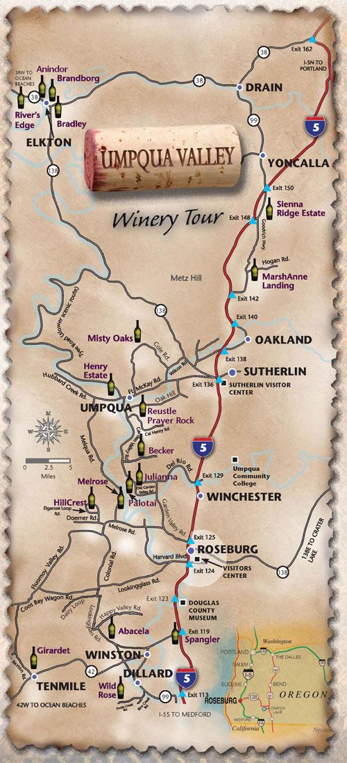 Umpqua Valley Oregon Wine Tour Map